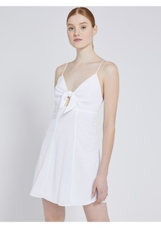 alice + olivia ROE FRONT TIE MINI DRESS