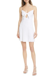 Alice + Olivia Roe Tie Front Clip Dot Flare Dress