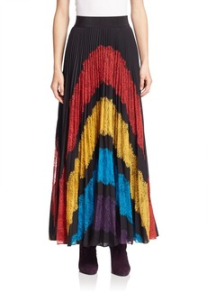 Alice + Olivia Romona Pleated Lace Applique Maxi Skirt
