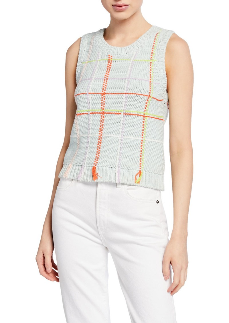 Alice + Olivia Rosalina Grid Sleeveless Shell