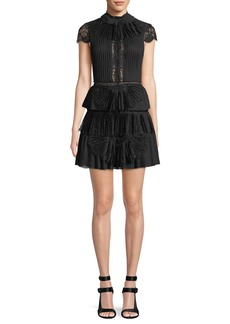 Alice + Olivia Rosetta High-Neck Cap-Sleeve Tiered Lace Cocktail Dress