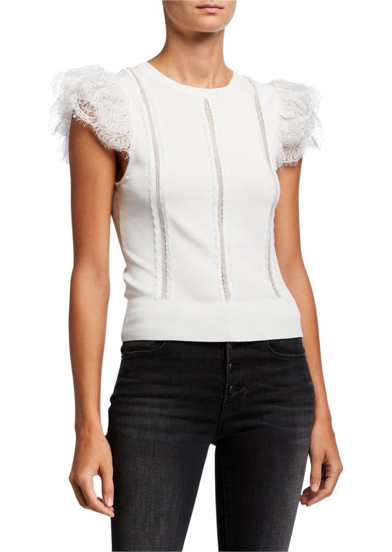 Alice + Olivia Rosio Lace Combo Crewneck Cap-Sleeve Sweater