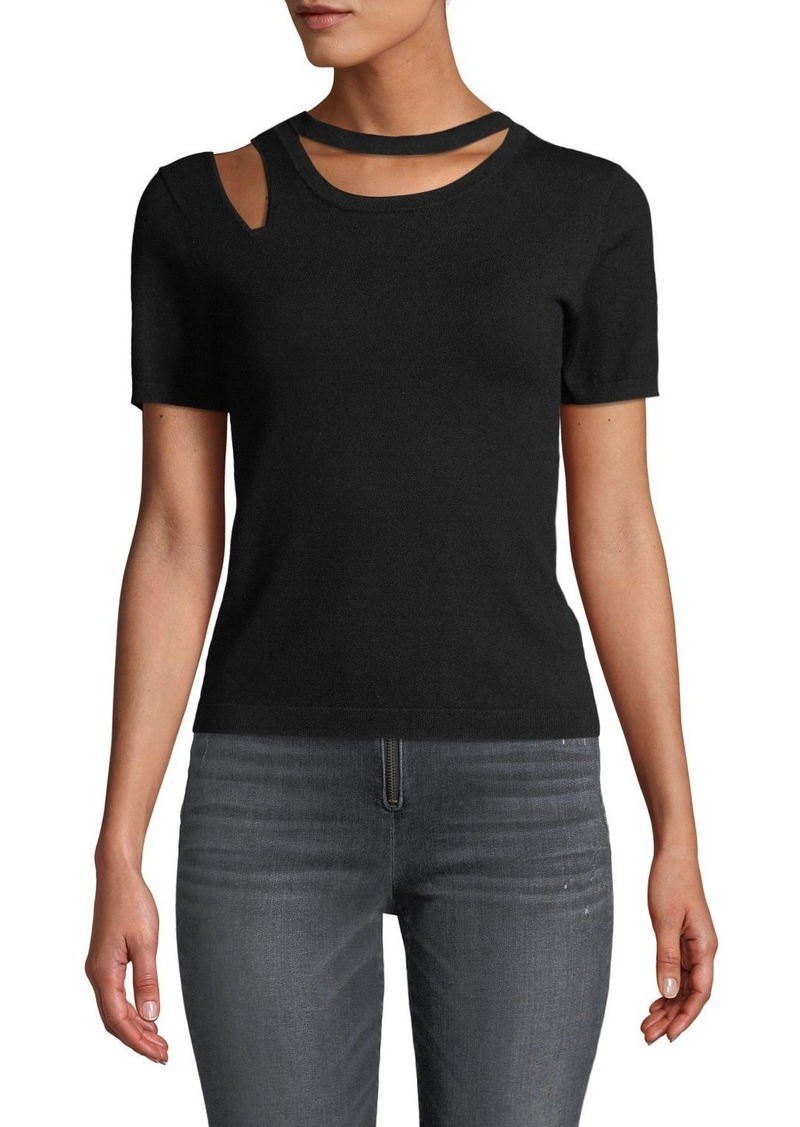 Alice + Olivia Roslyn Short-Sleeve Cutout Fitted Sweater