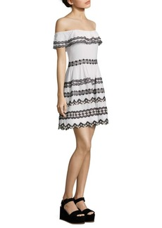 Alice + Olivia Rozzi Lace Trim Off-The-Shoulder Dress