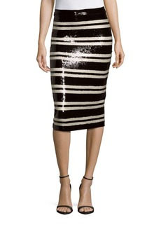 Alice + Olivia Rue Embellished Striped Pencil Skirt