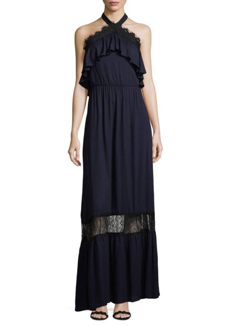 Alice + Olivia Ruffled Lace Halter Dress