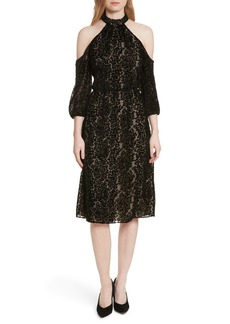 Alice + Olivia Ruthann Cold Shoulder Burnout Velvet Dress