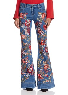 Alice + Olivia Ryley Embroidered Low-Rise Flared Jeans in Vintage Wash