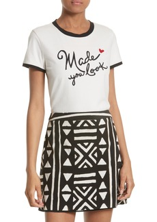 Alice + Olivia Rylyn Embroidered Ringer Tee