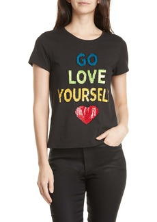 Alice + Olivia Rylyn Go Love Yourself Sparkle Tee