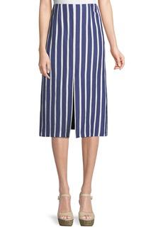 Alice + Olivia Sabrena Front-Slit A-Line Midi Skirt