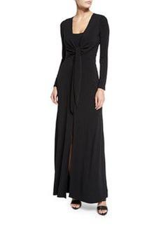 Alice + Olivia Salina Tie-Front Long-Sleeve Maxi Dress