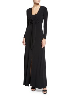 Alice + Olivia Salina Tie-Front Long-Sleeve Maxi Dress