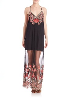 Alice + Olivia Sally Embroidery Long Slip Dress