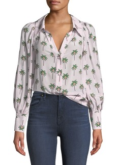 Alice + Olivia Salome Open-Neck Palm Tree Silk Blouse