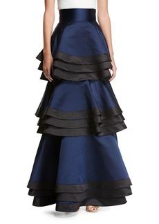 Alice + Olivia Samba Three-Tier Satin Maxi Skirt