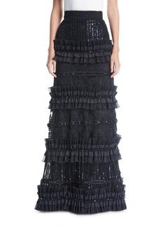 Alice + Olivia Samia Tiered Embellished Ruffle Skirt w/ Lace