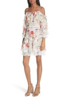Alice + Olivia Santos Cold Shoulder Floral Silk Dress
