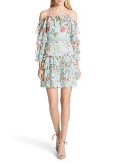 Alice + Olivia Santos Cold Shoulder Tiered Silk Dress