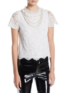 Alice + Olivia Sarina Embellished Lace Top w/ Necklace Detail
