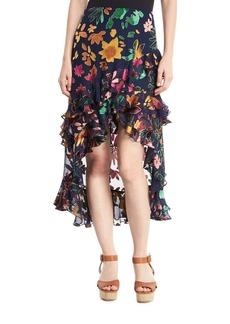 Alice + Olivia Sasha Floral Devoré Asymmetric Tiered Ruffle Skirt