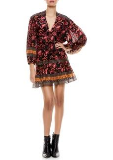Alice + Olivia Sedona Floral Long Sleeve Mandarin Collar Dress
