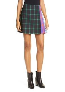 Alice + Olivia Semira Contrast Plaid Miniskirt