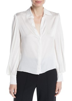Alice + Olivia Shanda Button-Front Puff-Sleeve Silk Shirt