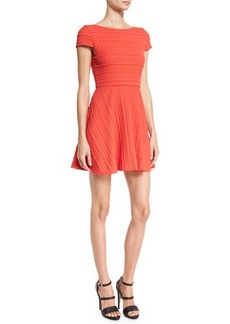 Alice + Olivia Shane Cap-Sleeve Skater Dress