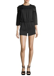 Alice + Olivia Shannon Bell-Sleeve Romper with Ruffled Trim