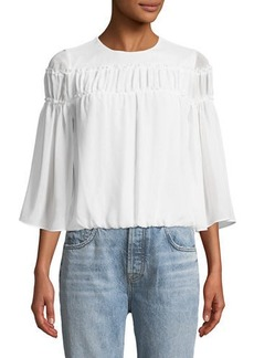 Alice + Olivia Shannon Bell-Sleeve Top with Ruffled Trim