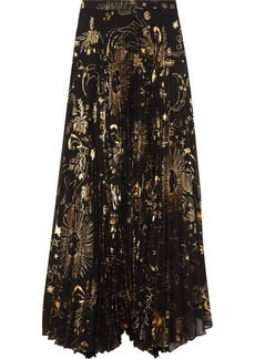 Alice + Olivia Shannon pleated metallic printed chiffon maxi skirt
