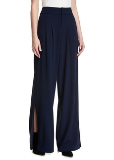 Alice + Olivia Shavon High-Waist Wide-Leg Side-Slit Crepe Pants