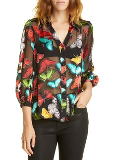 Alice + Olivia Sheila Butterfly Print Silk Blend Top