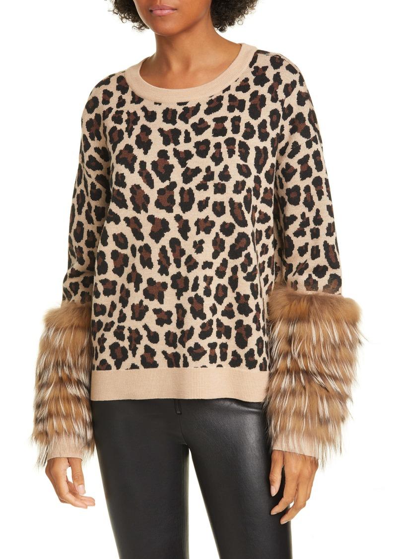 Alice + Olivia Sheila Genuine Fox Fur Cuff Sweater