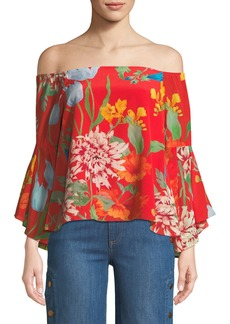 Alice + Olivia Shera Off-the-Shoulder Floral-Print Top