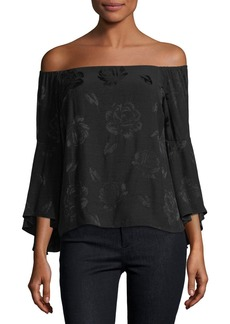 Alice + Olivia Shera Off-the-Shoulder Trumpet-Sleeve Floral-Embroidered Top