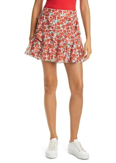 Alice + Olivia Sherley Floral Ruffle Godet Cotton & Silk Miniskirt