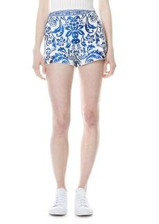 Alice + Olivia Sherri Embroidered Stretch Cotton Shorts