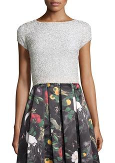 Alice + Olivia Short-Sleeve Embellished Crop Top
