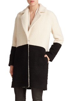 Alice + Olivia Shyla Two-Tone Wool Coat
