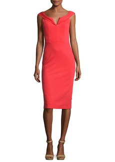 Alice + Olivia Sienna Off-the-Shoulder Sheath Dress