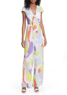 Alice + Olivia Sierra Abstract Pattern Tie Front Jumpsuit
