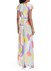 Alice + Olivia Sierra Abstract Pattern Tie Front Jumpsuit