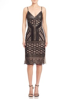 Alice + Olivia Silvia Embellished V-Neck High Slit Dress