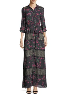 Alice + Olivia Sina Tie-Waist Paneled Floral-Print & Lace Long Dress