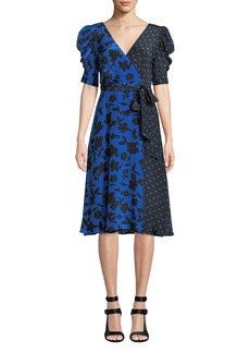 Alice + Olivia Siona Puff-Sleeve Midi Dress