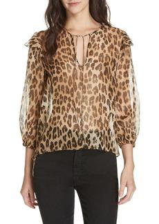Alice + Olivia Sissy Metallic Leopard Print Silk Blend Top