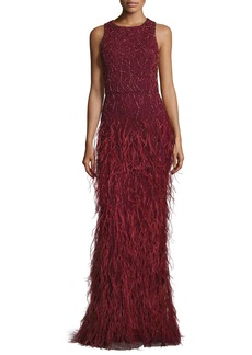 Alice + Olivia Sleeveless Beaded Feather Gown