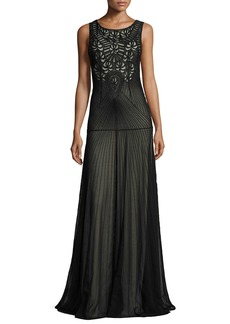 Alice + Olivia Sleeveless Beaded Tulle Gown